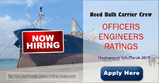 seaman jobs Master, Chief officer, Chief Engineer, 2nd Engineer, Electrican Joining March 2019 For Bulk Carrier Ships