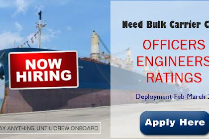 Master, Chief officer, Chief Engineer, 2nd Engineer, Electrican Joining March 2019 For Bulk Carrier Ships