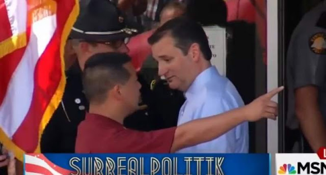 Ted Cruz expelled from the Mike Huckabee and Kim Davis Hate the Gays Rally Sept. 2015