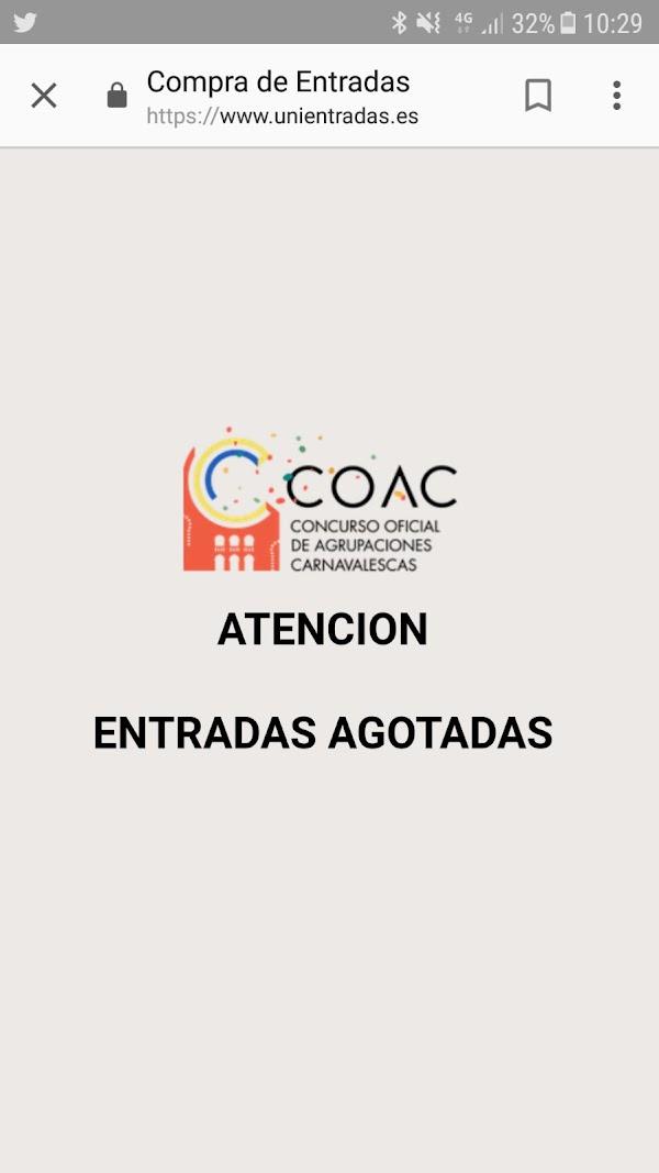 Entradas para las Semifinales del COAC 2018