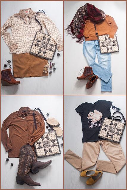 bag brown outfit , с чем носить, что одеть, сумка печворк, Звезда Огайо Ohio Star