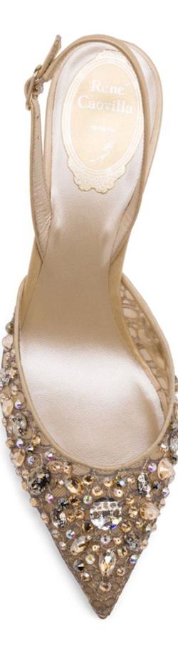 Rene Caovilla Swarovski Crystal-Embellished Lace Slingback Pumps