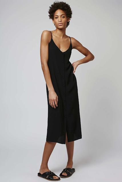 black button through dress, black button cami dress, black strappy button down dress,