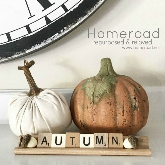 repurposed pumpkin fall mantel