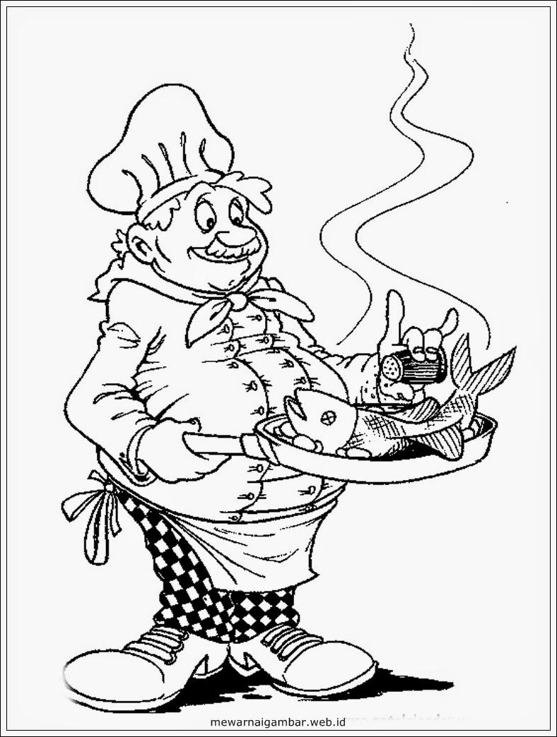 gambar chef hitam putih gambar mewarnai chef