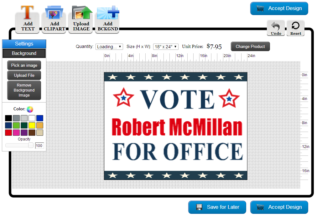 Political Yard Sign Template in the Online Designer