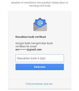 Masukkan kode verifikasi pemulihan email