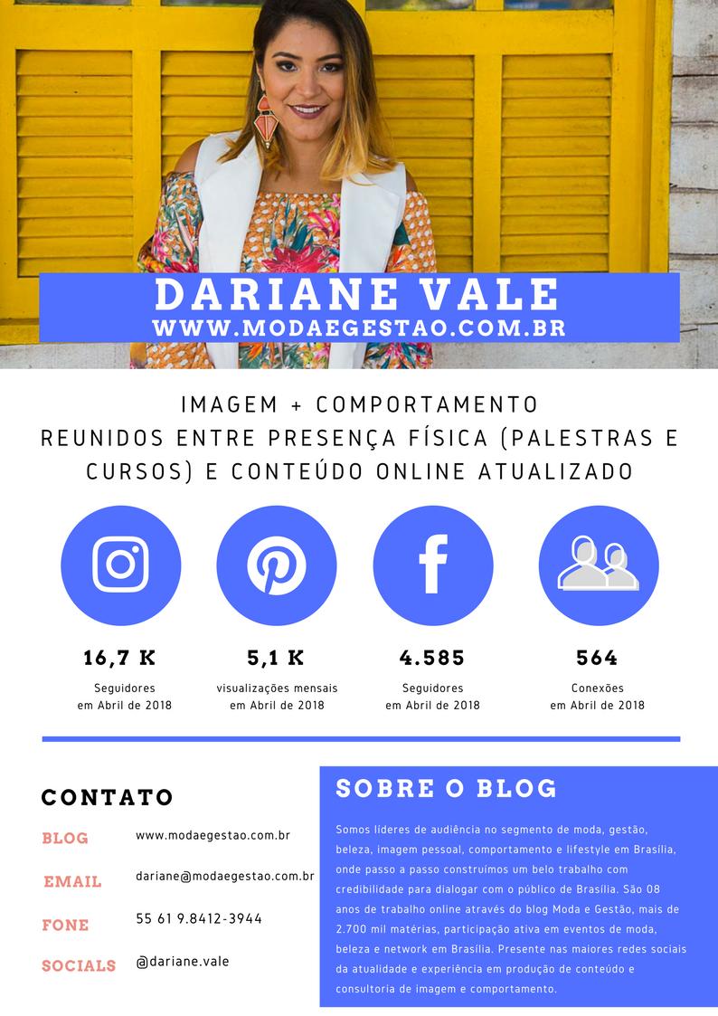 Midia Kit Blog Moda e Gestão Dariane Vale 2018