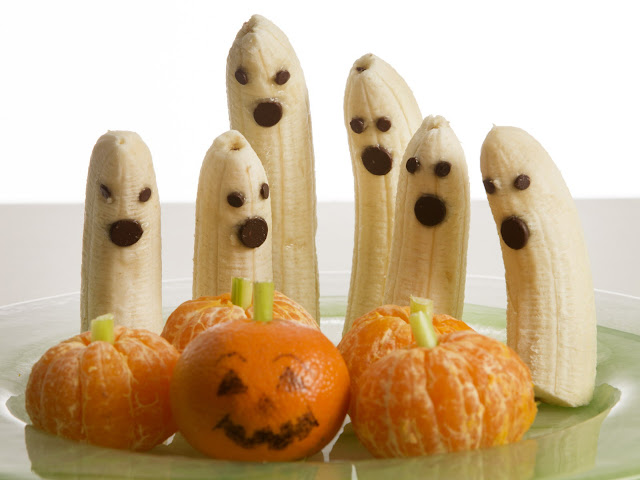 halloween, banana, orange, pumpkin, scary