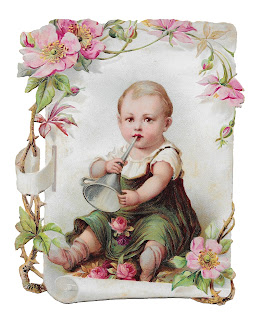 baby flowers card printable rose image vintage illustration