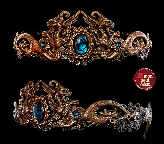 circlet dragon chimera mythical creature bronze crown medieval fantasy blue abalone paua shell