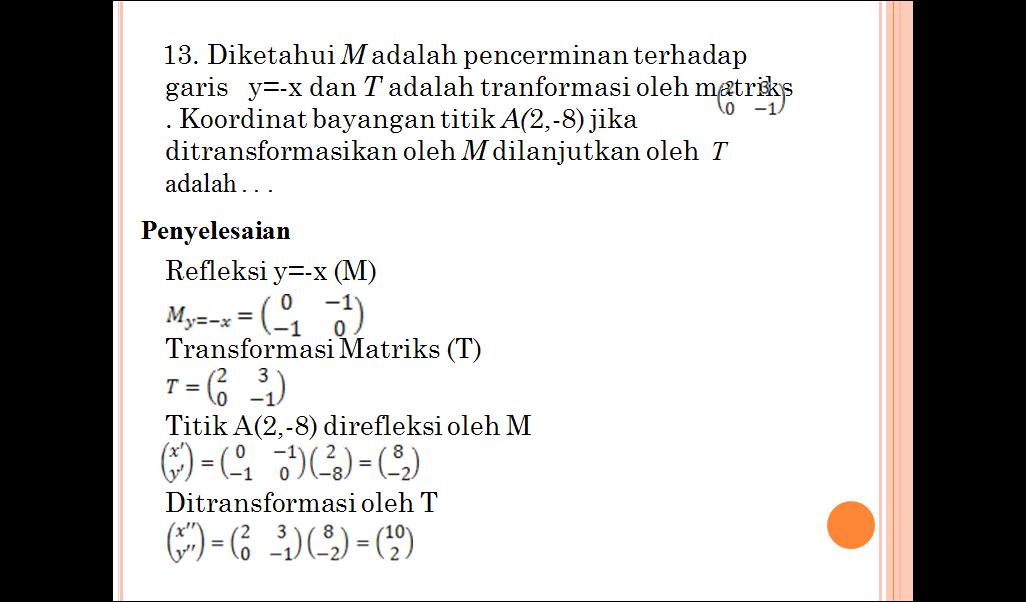 Jawaban Ruko Transformasi Geometri kelas XII - Gulali Beku