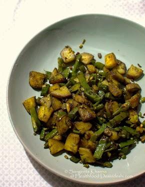 plantain and lablab beans | kachhe kele sem ki bhujia | making healthier subzis