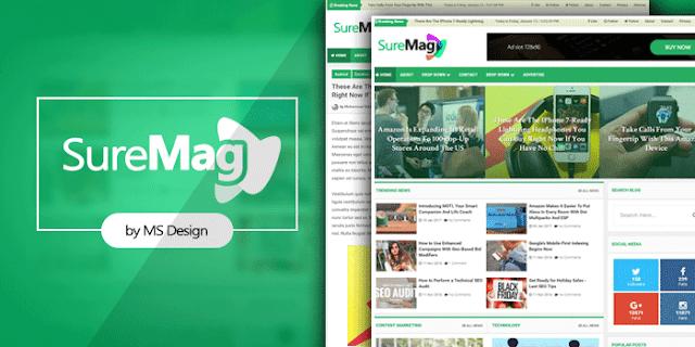 Sure Mag adalah template blogger Majalah oleh MS Design. Ini kompatibel dengan semua jenis blog Majalah, blog Surat Kabar, blog Ulasan atau blog Teknologi