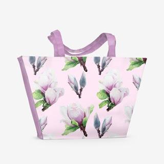 Sumka s printom magnoliya na rozovom | Inna Yakuskeva's blog