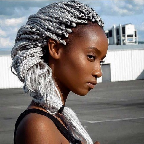 Long Silver Gray Box Braids