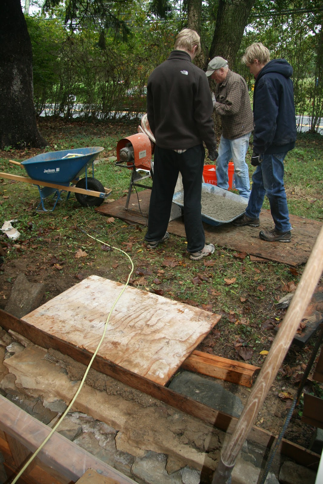 An Old Farm Pouring The Porch Foundation