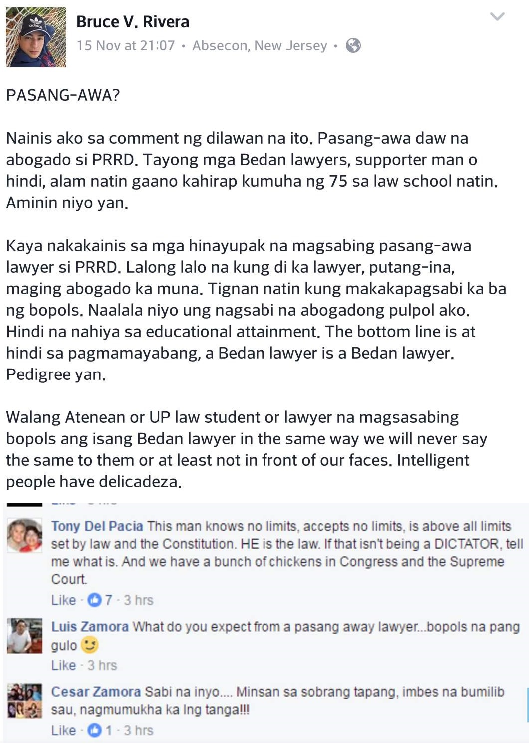 Atty Bruce Rivera on Duterte bashers: He is not stupid, passing San Beda law is a pedigree