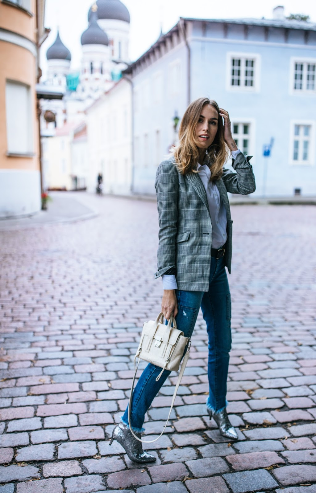 checked blazer glitter boots outfit fall