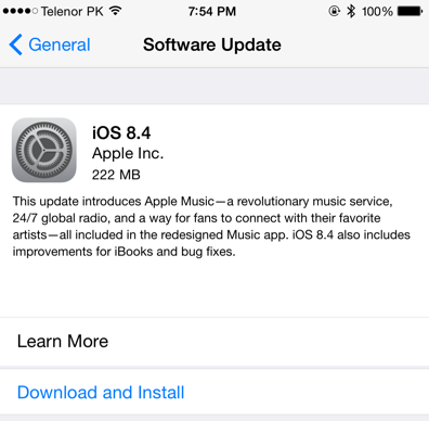 Apple iOS 8.4 OTA Update