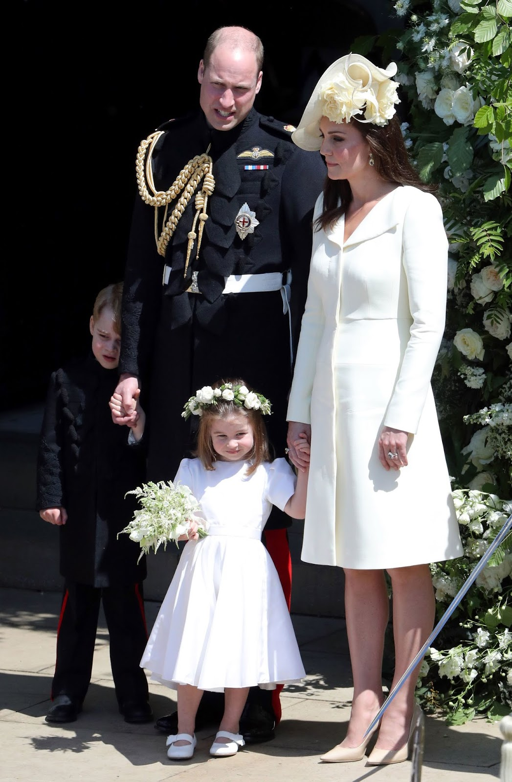 Prince George, Prince William, Princess Charlotte and Duchess Catherine