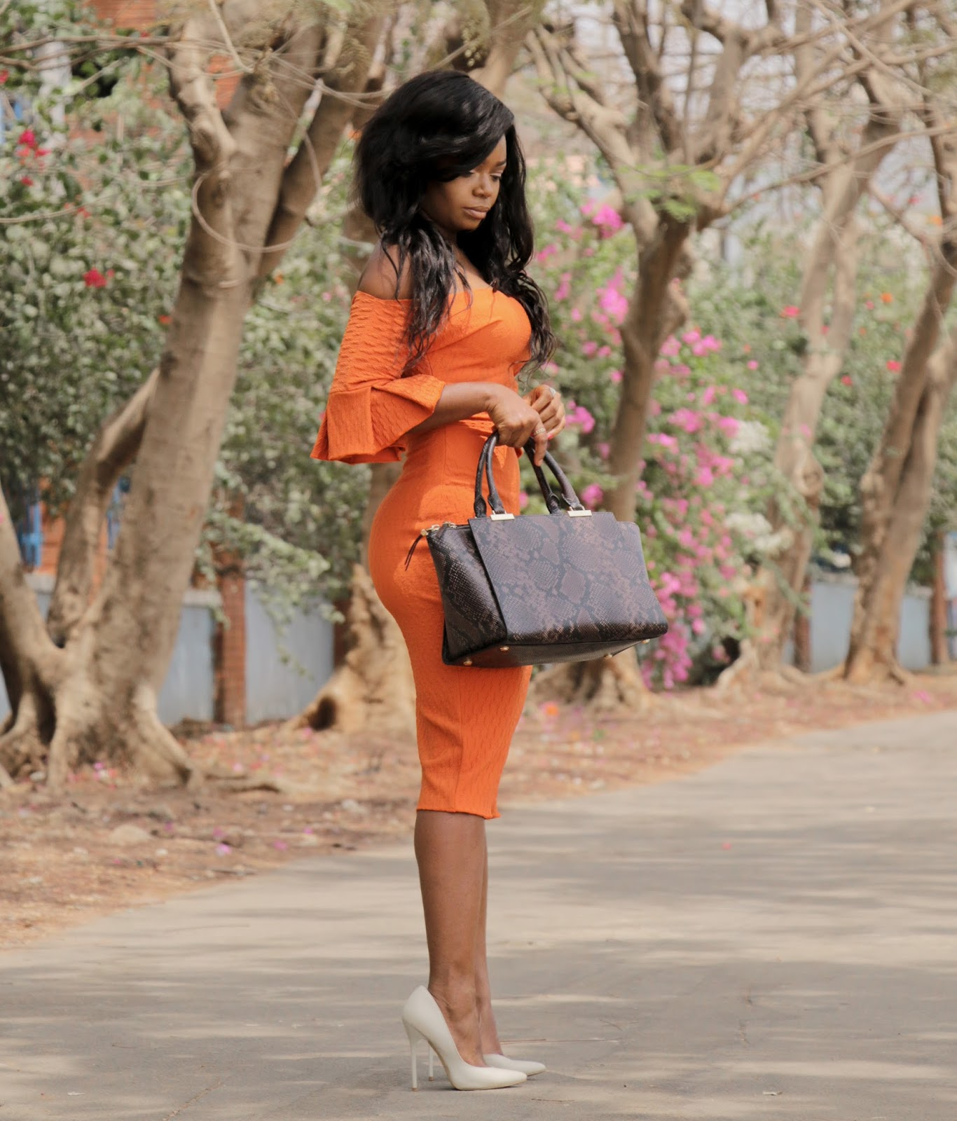 THE FLYGERIAN - Henri Bendel Snake Print Bag from The Flygerian and Orange Off shoulder dress form Kitau