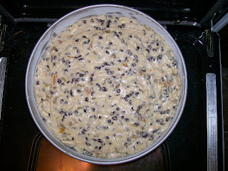 12th Night Cake batter, with many raisins and currants.