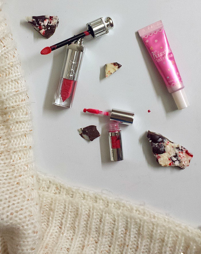dior addict fluid stick in vertigo 689, etude house kissful choux tint in 02 pink choux, lancome lip lover in 355 framboise etoile review and swatches