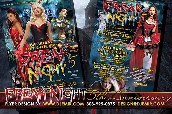 Freak Night 5 Annual Halloween Ball Flyer Design