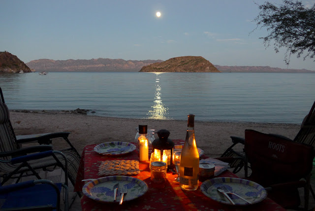 Dinner on Coyote Beach with the moon coming up.