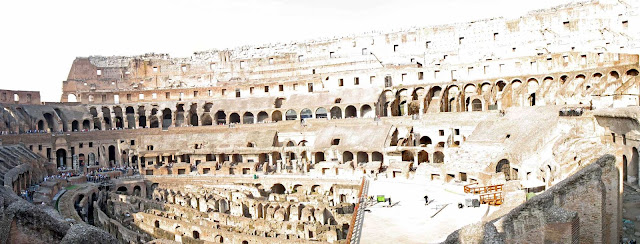 panoramic view of inside Colosseum
