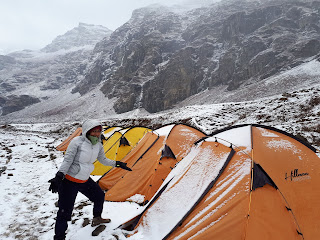 Snow covered our tents at Lower Rupin Waterfall