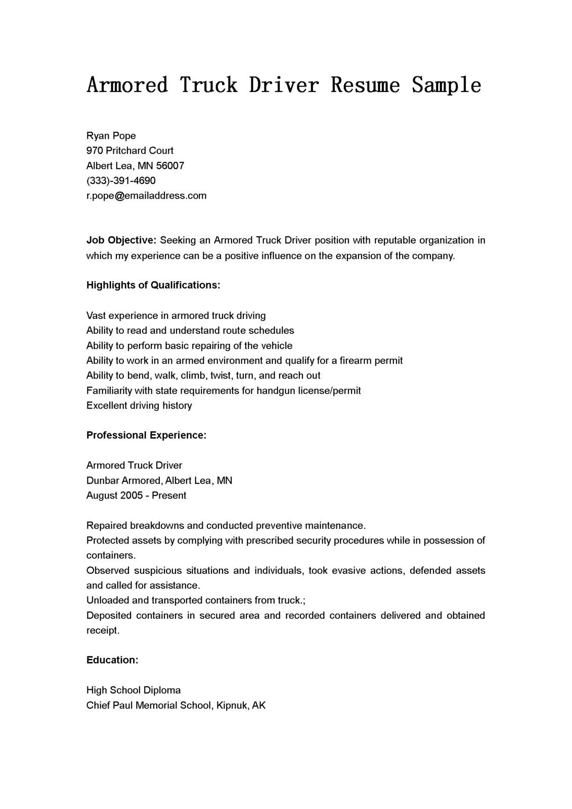 cover letter sample for truck driving job - Resume Cover Letter Samples Truck Driver