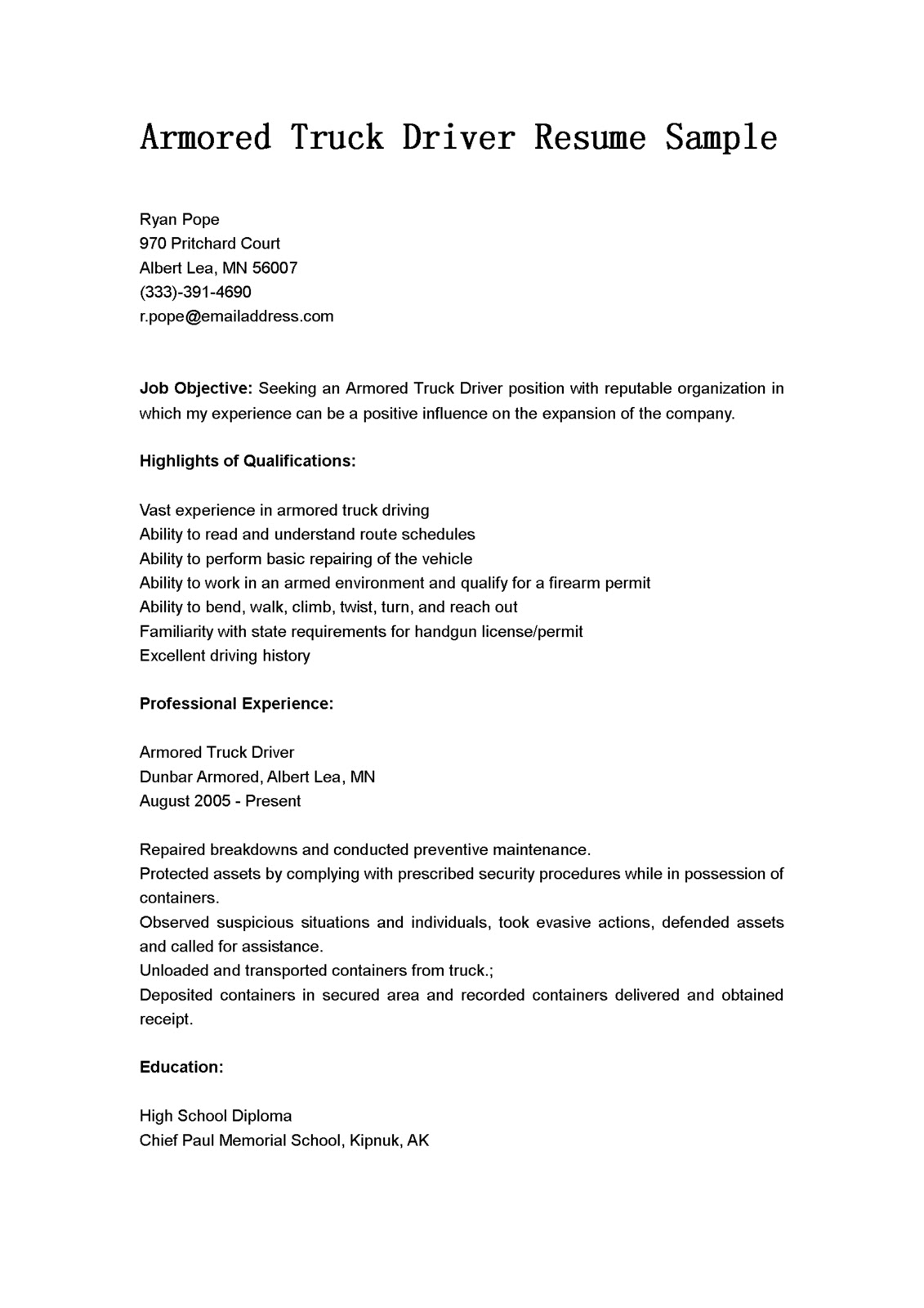 Cdl Resume Objective Examples Driver Resumes Armored Truck Driver Resume Sample