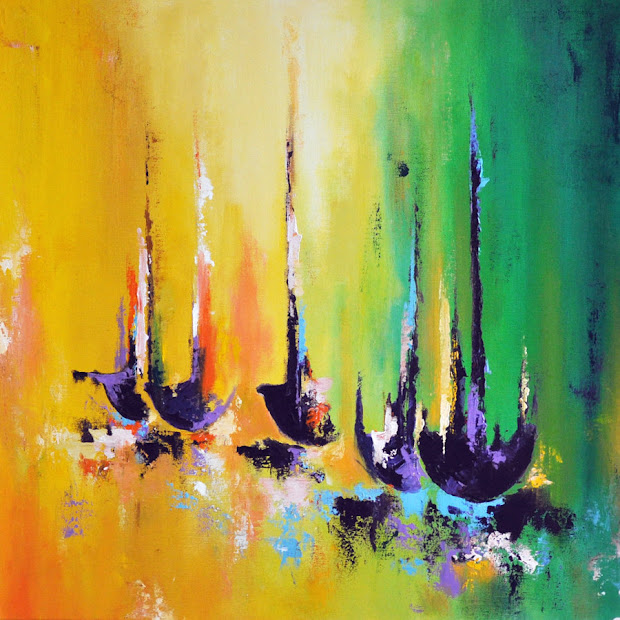 Daily Painters Abstract Boats - Original