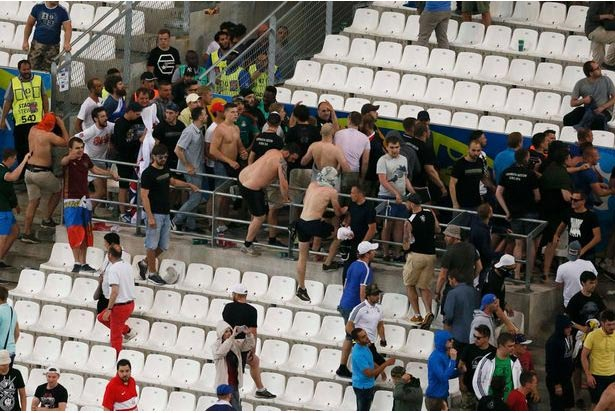 Final whistle at England vs Russia Euro match sends crowd into brutal fight
