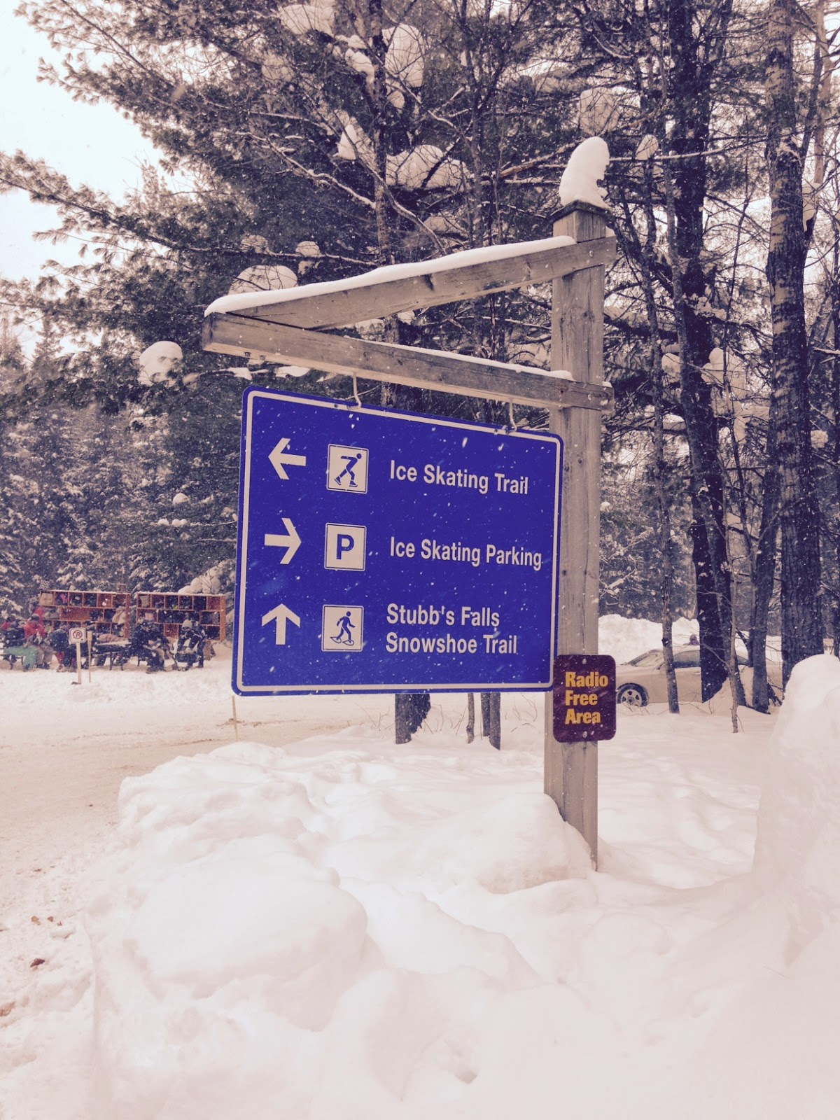 Wayfinding signs at the Arrowhead Skating Trail