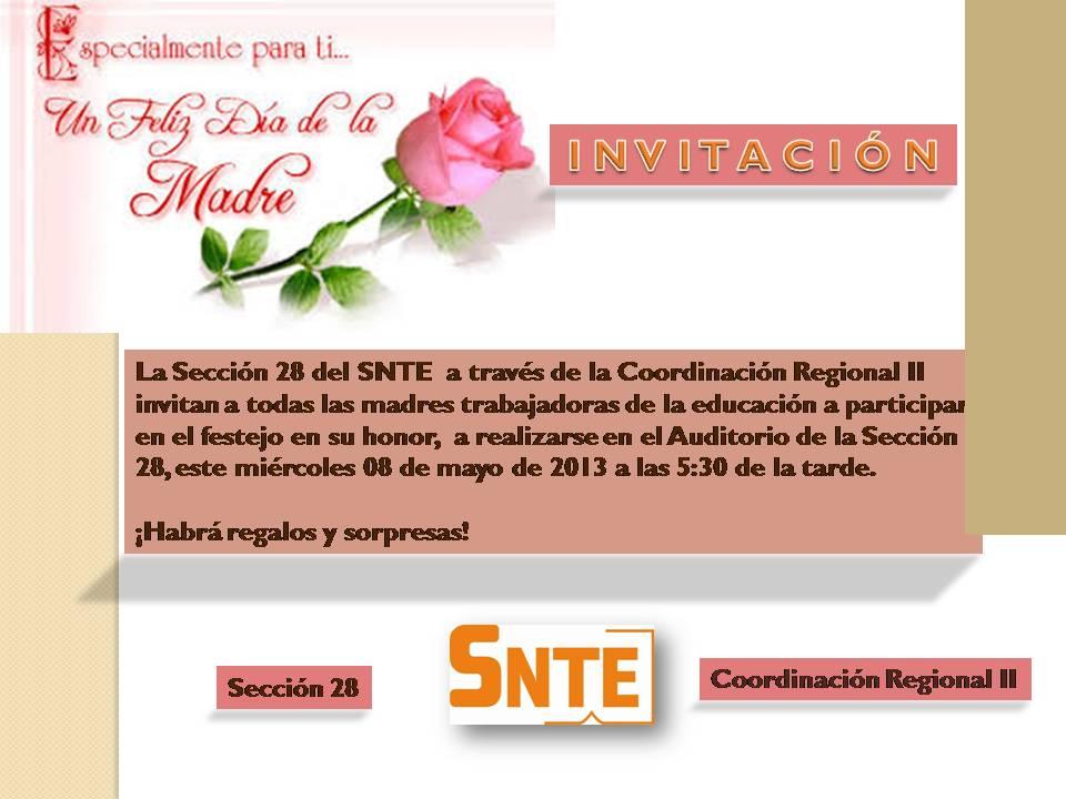 Invitacion DÍa De Las Madres RegiÓn