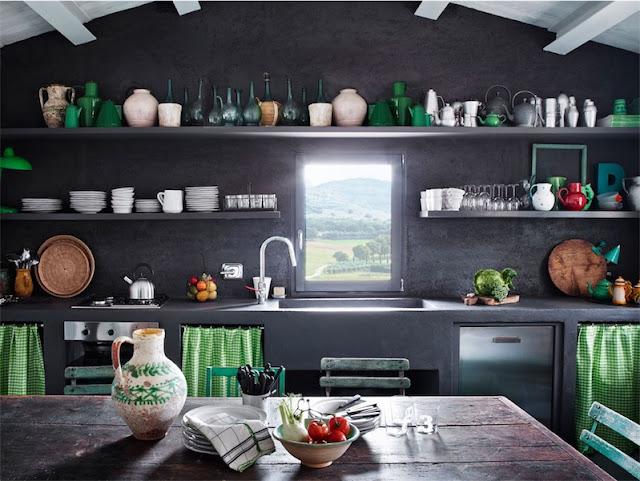 cocina en negro y verde chicanddeco