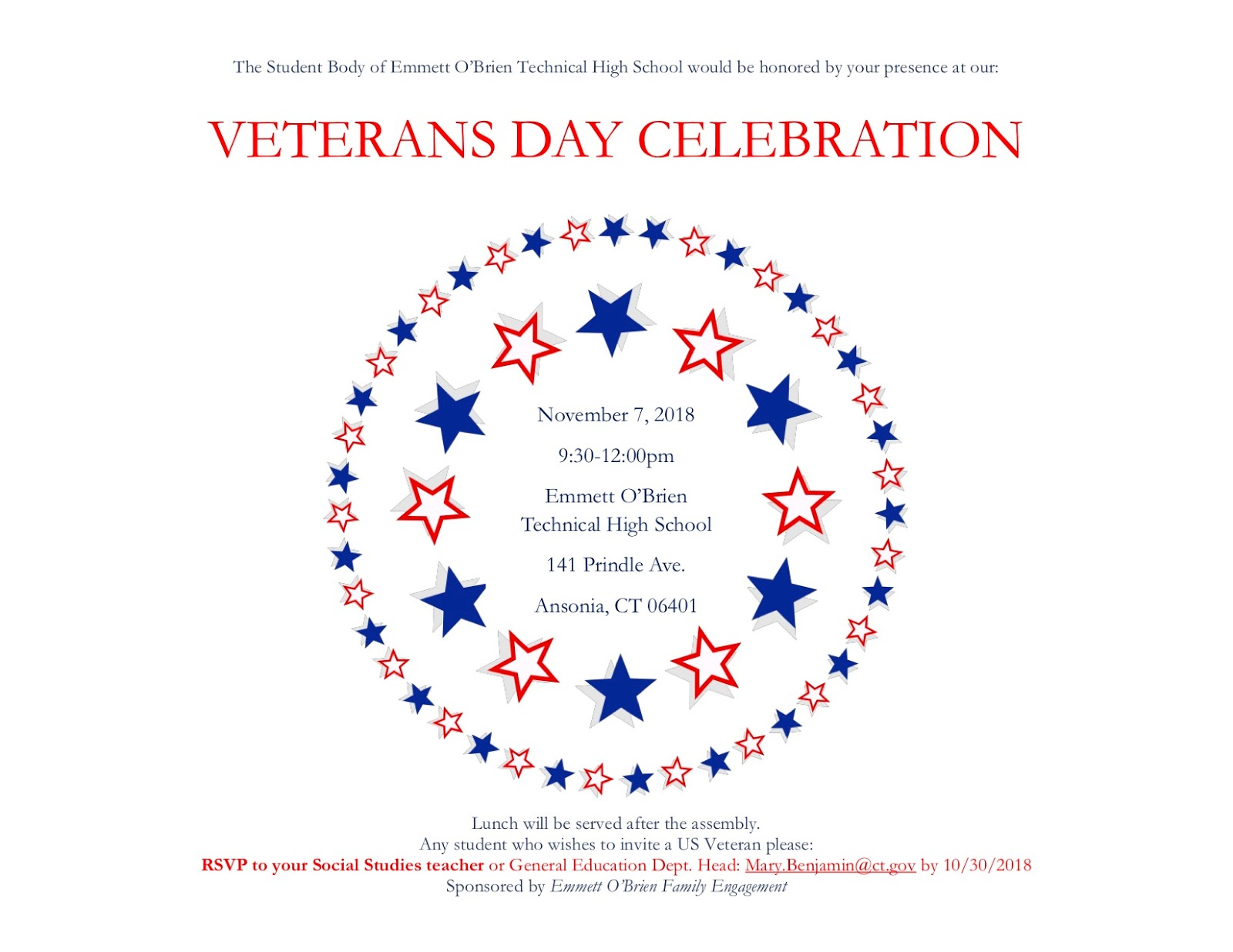Celebrating Voices October 30th Your >> The Valley Voice O Brien Tech In Ansonia To Host Veterans Day