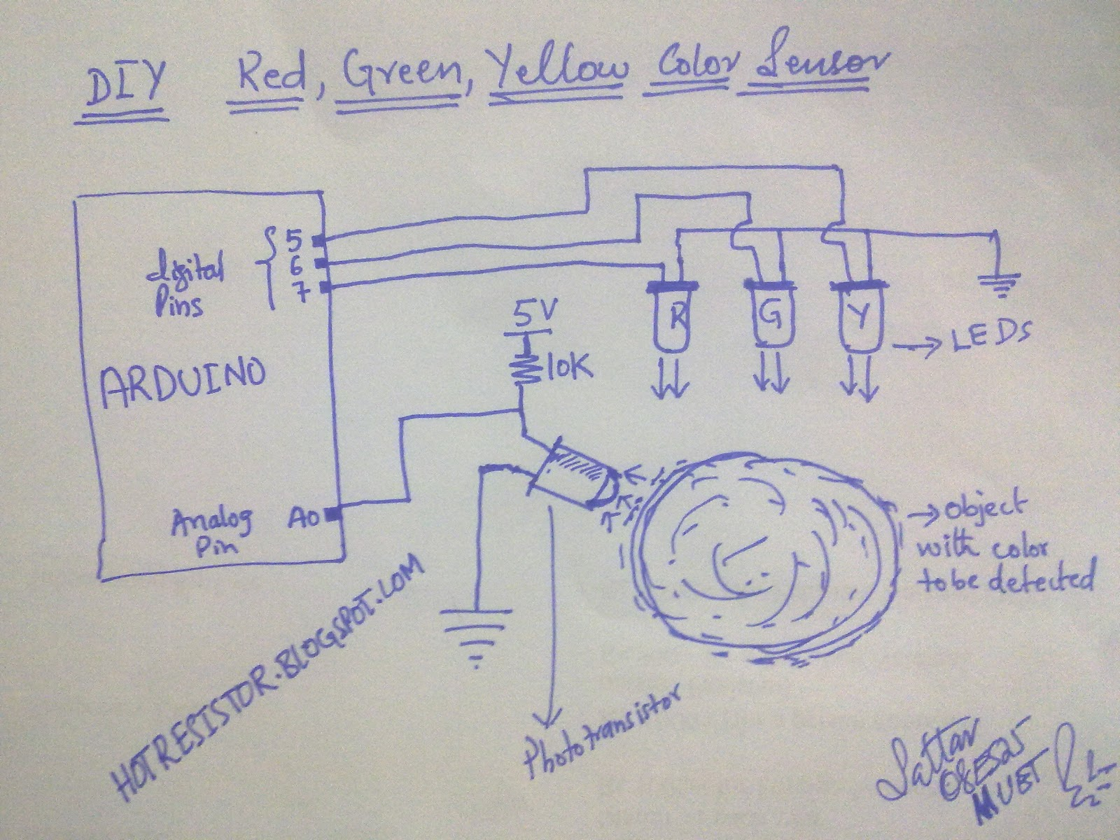 Arduino Based Rgy Color Sensor With Leds And Phototransistorcircuit Wireless Pressure Circuit Diagram Diy