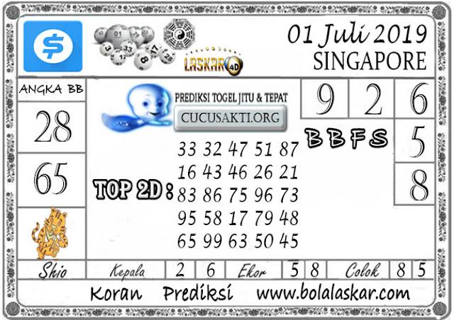 Prediksi Togel SINGAPORE LASKAR4D 01 JULI 2019