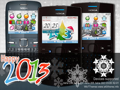 Happy new year 2013 theme Asha 205, 201, 200, 302, C3-00, X2-01