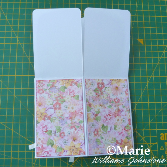 Adding patterned panels of flower paper to the outside of the handmade card design