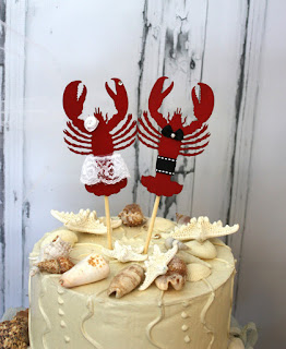 lobster ocean wedding cake topper