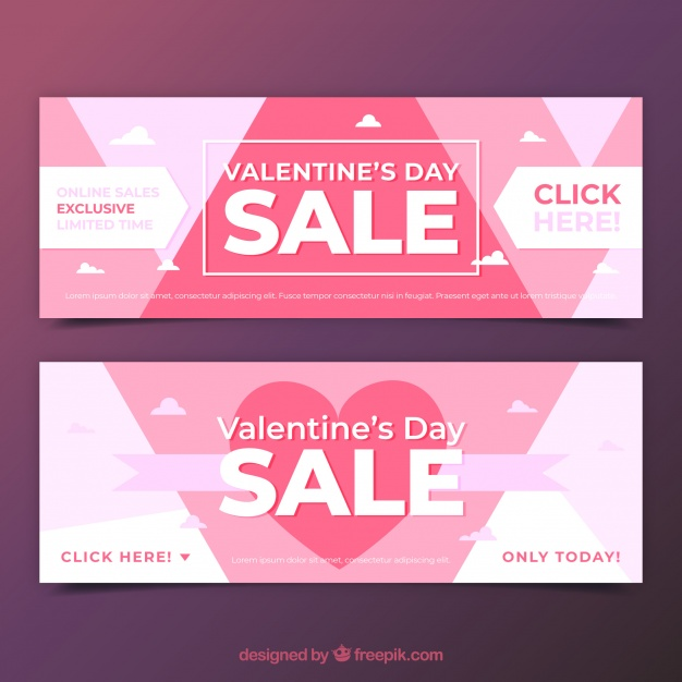 Valentine sale banners Free Vector