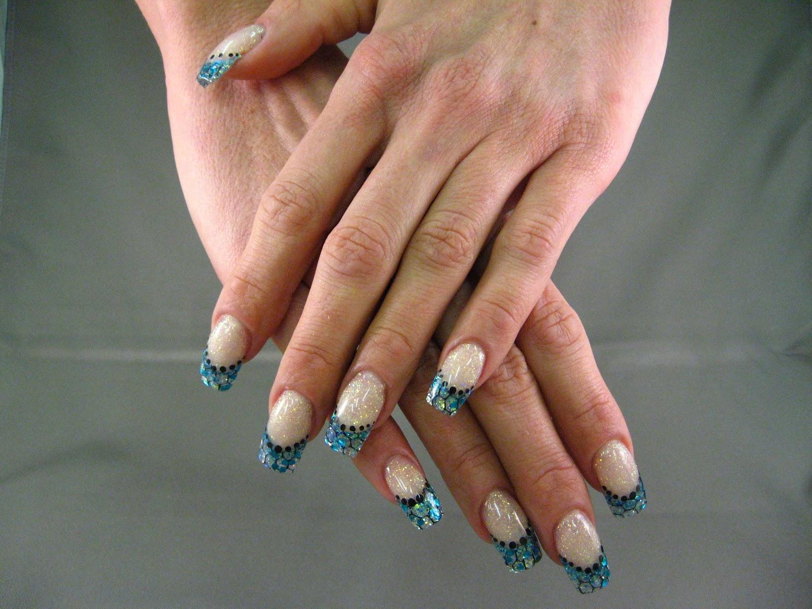 Blue Glitter French Nails | Nailic