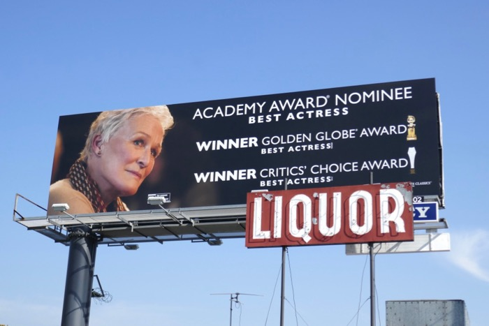 Glenn Close The Wife Oscar nominee billboard