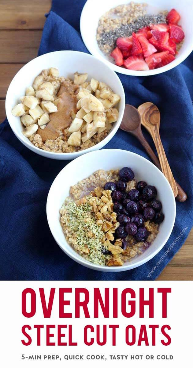 An easy, fuss-free recipe for overnight steel cut oats with little prep and a short cook time. Unlike the no-cook or slow cooker methods that can leave the oats either too chewy or gloopy, this technique yields oats with a nice blend of chewiness & creaminess. Steel cut oats are just as tasty eaten cold or reheated to piping hot, which makes them an excellent option for meal prepping healthy breakfasts the week ahead (no matter the weather). {gluten-free with vegan options}