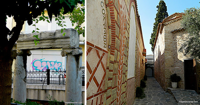 Vestígios arqueológicos no bairro de Pláka, Atenas